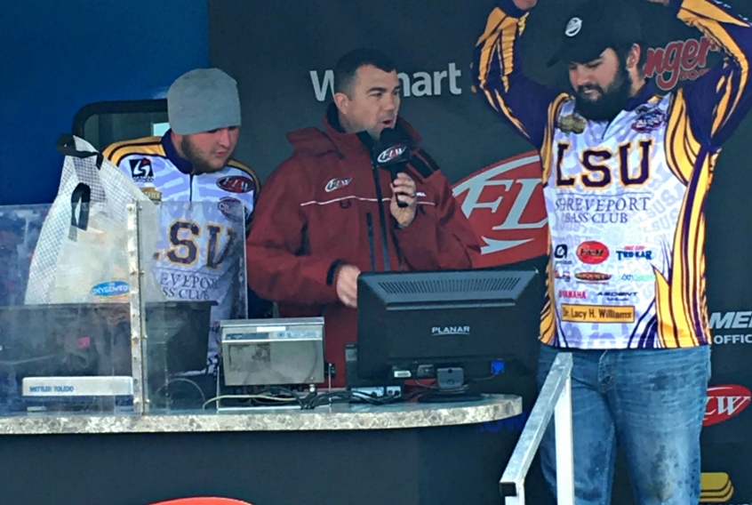 Christian Brown & Jared Rascoe at weigh-in. Placing LSUS in 1st place overall for the FLW College Fishing- Southern Division.  Photo Courtesy of FLW